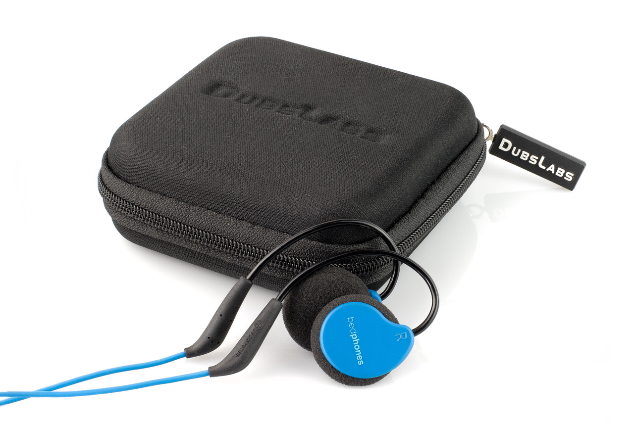 Blue Bedphones Next to Zippered Travel Case